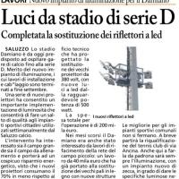 Nuovo impianto di illuminazione allo Stadio Damiano